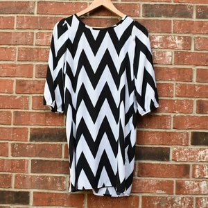 Ruby Rox Chevron Dress with Blue Bow